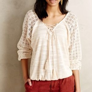 Meadow Rue Anthropologie peasant lace up top